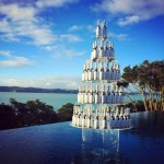 Wine bottle tower